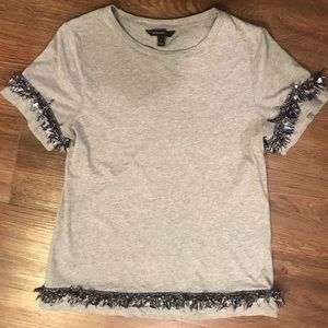 Banana Republic Grey Embellished T-Shirt Size S